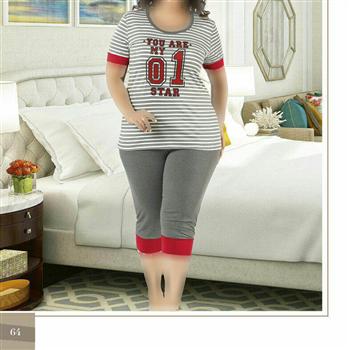 تی شرت شلوارک سایز بزرگ زنانه ترک - 7445 Miss Tiko