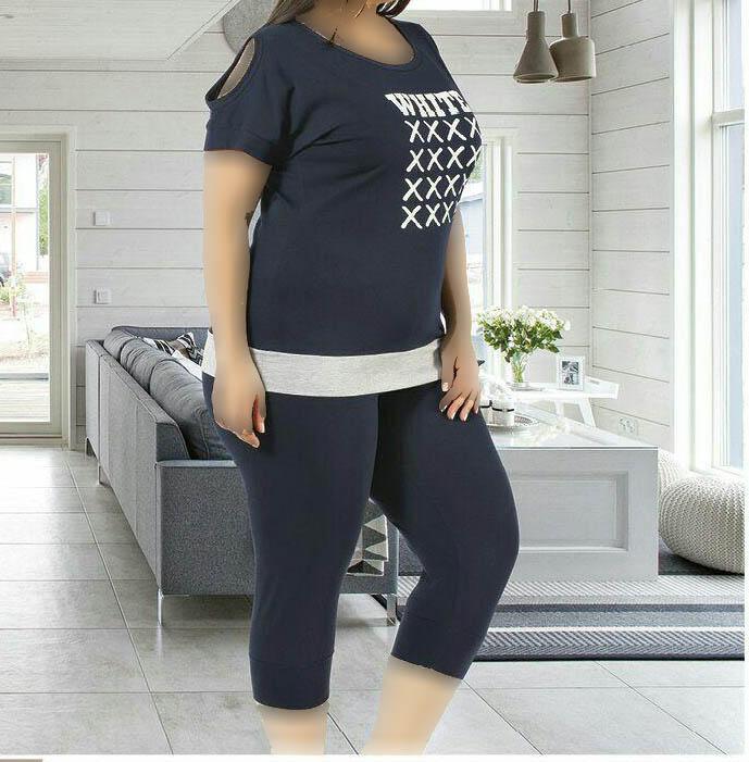 تی شرت شلوارک سایز بزرگ زنانه ترک - 7456 Miss Tiko |