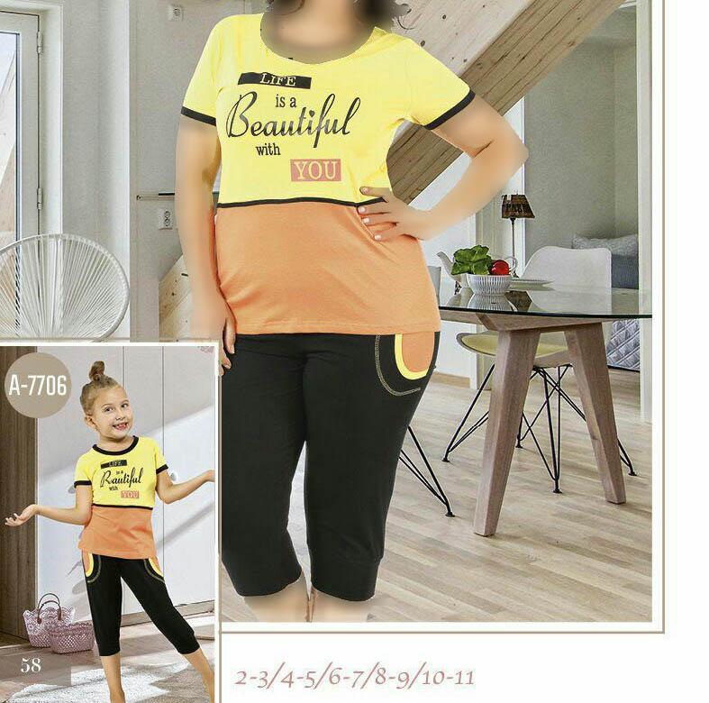 تی شرت شلوارک سایز بزرگ زنانه ترک - 7441 Miss tiko |