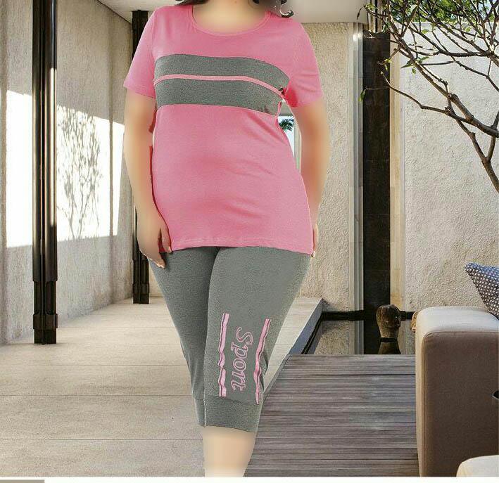 تی شرت شلوارک سایز بزرگ زنانه ترک - 7450 Miss Tiko |