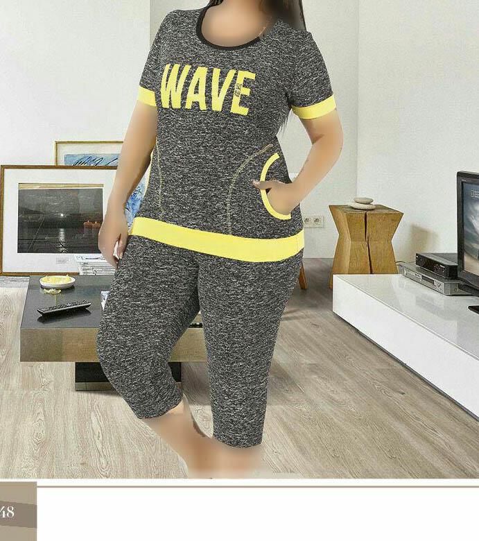 تی شرت شلوارک سایز بزرگ زنانه ترک - 7462 Miss Tiko |