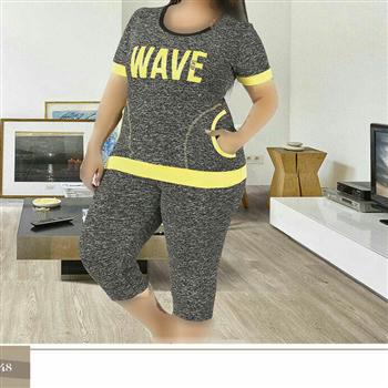 تی شرت شلوارک سایز بزرگ زنانه ترک - 7462 Miss Tiko
