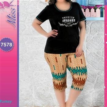 تی شرت شلوارک سایز بزرگ زنانه ترک - 7578 Miss Tiko