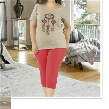 تی شرت شلوارک سایز بزرگ زنانه ترک - 7448 Miss Tiko