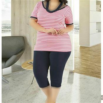 تی شرت شلوارک سایز بزرگ زنانه ترک - 7447 Miss Tiko