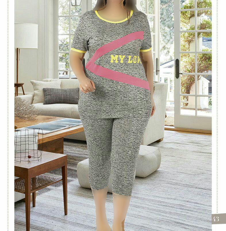 تی شرت شلوارک سایز بزرگ زنانه ترک - 7463 Miss Tiko |