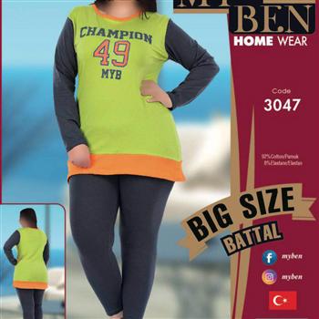 بلوز شلوار سایز بزرگ زنانه مای بن مدل 3047
