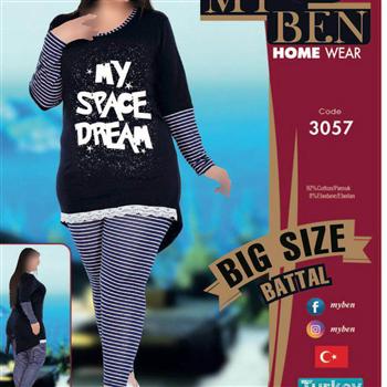 بلوز شلوار سایز بزرگ زنانه ترک -3057 MyBen