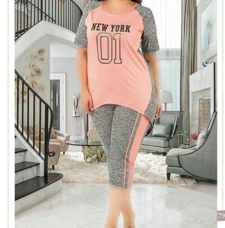 تی شرت شلوارک سایز بزرگ زنانه ترک - 7464 Miss Tiko |