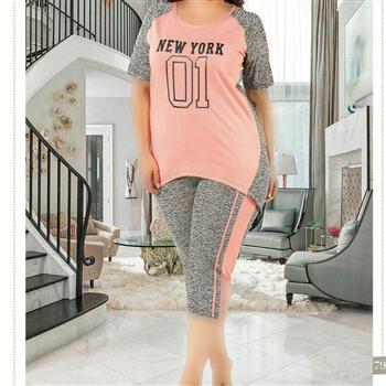 تی شرت شلوارک سایز بزرگ زنانه ترک - 7464 Miss Tiko