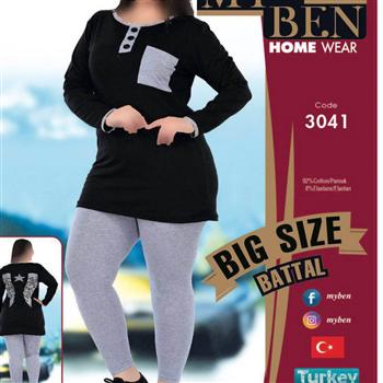 بلوز شلوار سایز بزرگ زنانه ترک -3041 MyBen