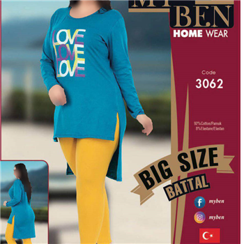 تونیک شلوار سایز بزرگ زنانه ترک -3062 MyBen