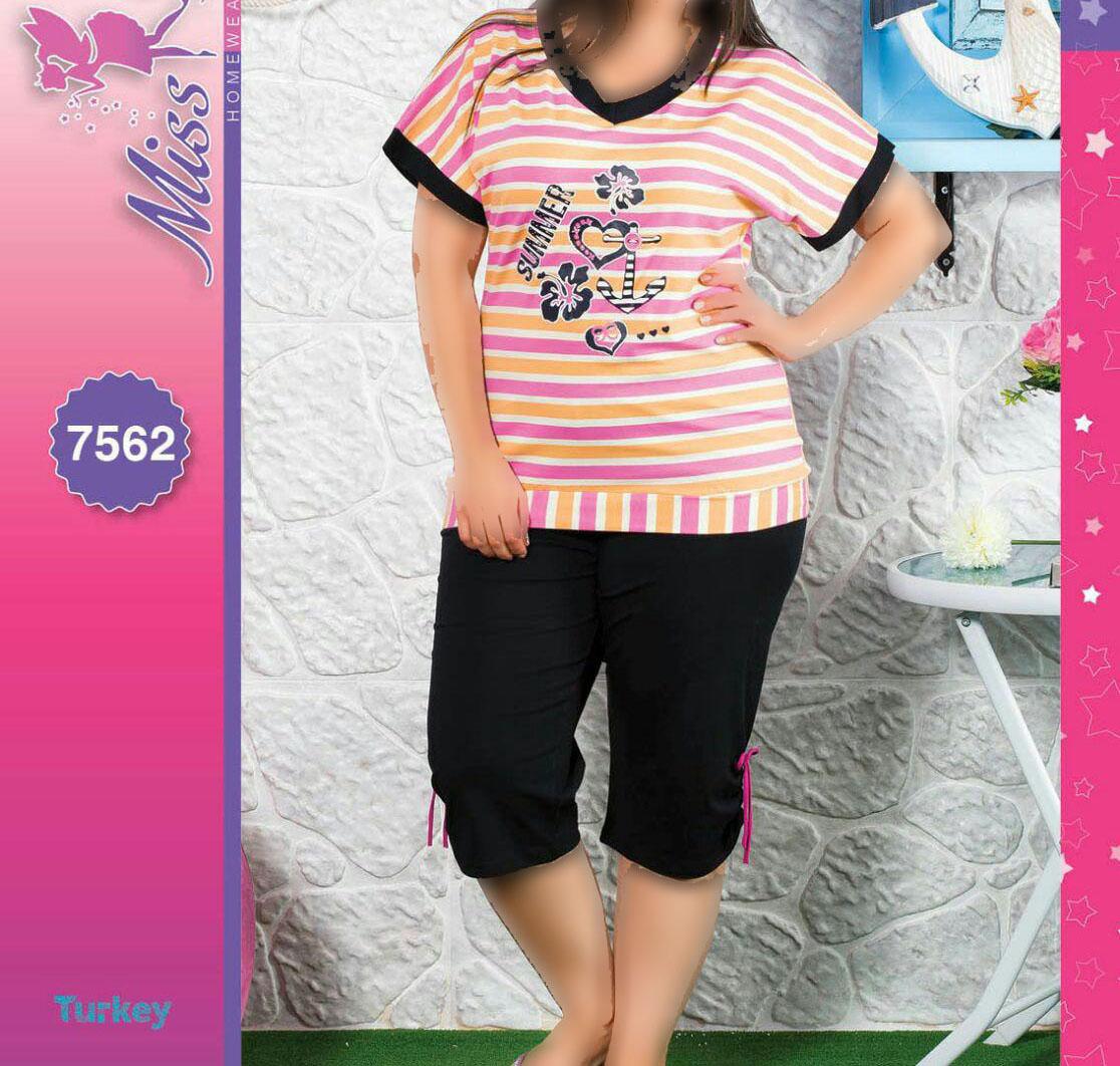تی شرت شلوارک سایز بزرگ زنانه ترک - 7562 Miss Tiko |