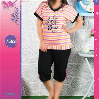 تی شرت شلوارک سایز بزرگ زنانه ترک - 7562 Miss Tiko