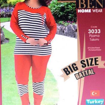 بلوز شلوار سایز بزرگ زنانه ترک -3033 MyBen