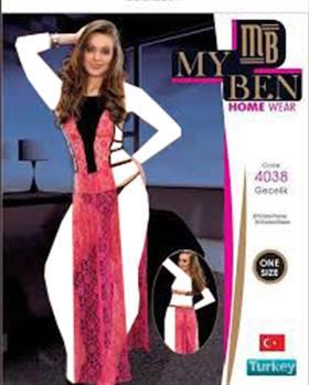 لباس خواب بلند زنانه  4038 MyBen