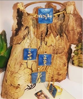 ست زیور آلات دست ساز ریرا -فیروزه ای دارای ورقه های طلا و برنج ضد زنگ و حساسیت