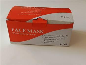 ماسک سه لایه پزشکی 50 عددی سفید رنگ