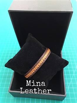 دستبند چرم طبیعی دوخت تزئینی