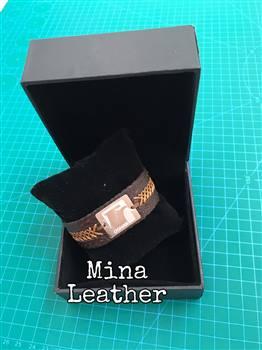 دستبند چرم طبیعی پلاک عقاب